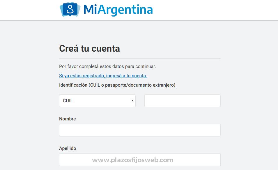 mi argentina registrarse formulario