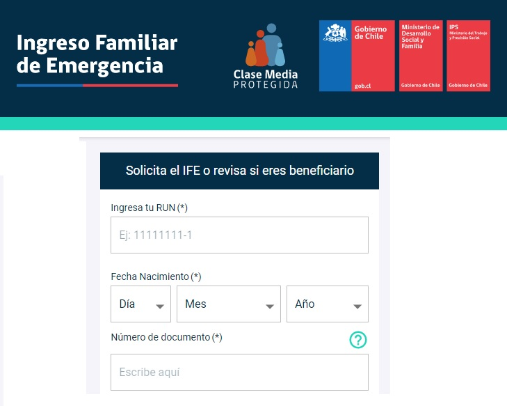 ingreso familiar emergencia chile IFE